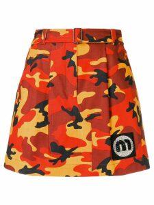 Miu Miu camouflage mini skirt - Orange