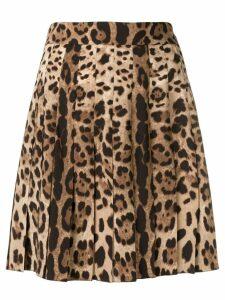 Dolce & Gabbana leopard print mini skirt - Brown