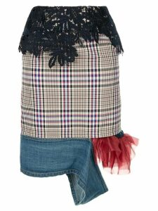 Kolor lace detailed checked skirt - Multicolour