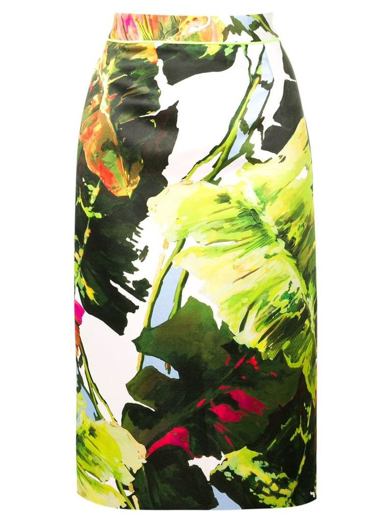 Blugirl leaf print pencil skirt - Green