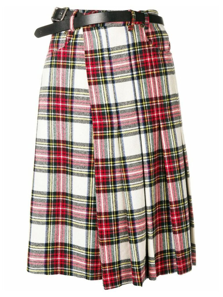 R13 tartan wrap skirt - White