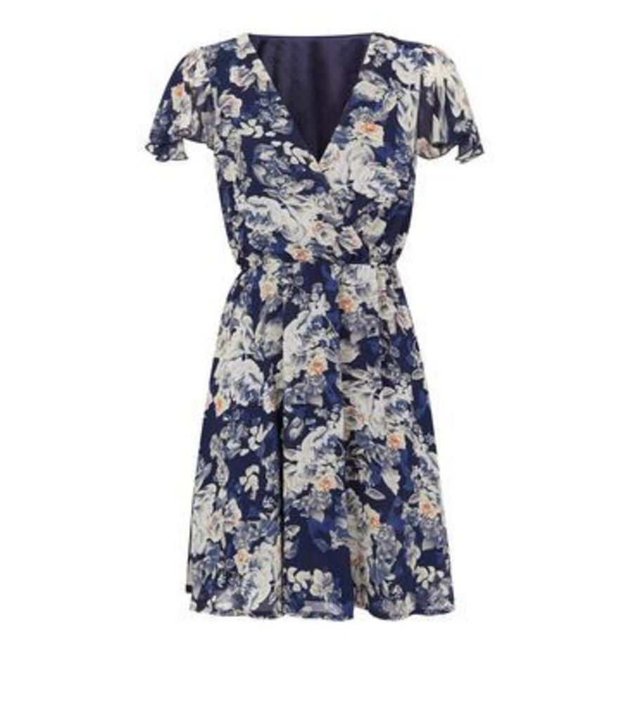 Mela Navy Floral Wrap Dress New Look