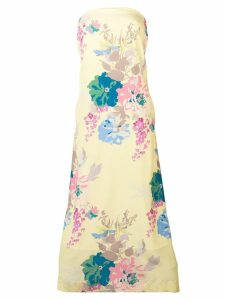 Erika Cavallini floral print strapless dress - Yellow