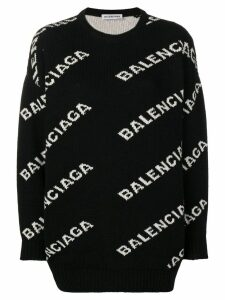 Balenciaga intarsia logo jumper - Black