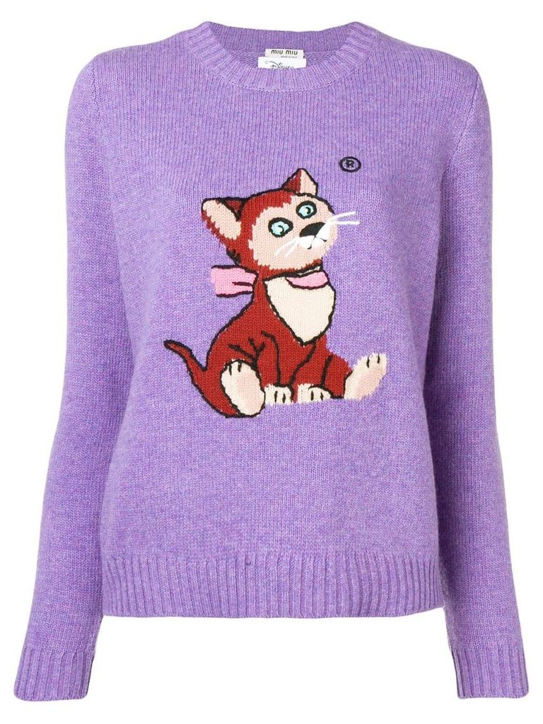 Miu Miu intarsia cat knitted sweater - Purple