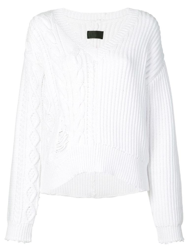 Rta distressed V-neck jumper - White