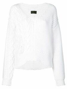 RtA distressed V-neck jumper - White