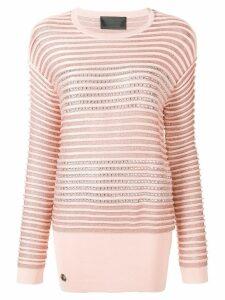 Philipp Plein crystal embellished striped jumper - Pink