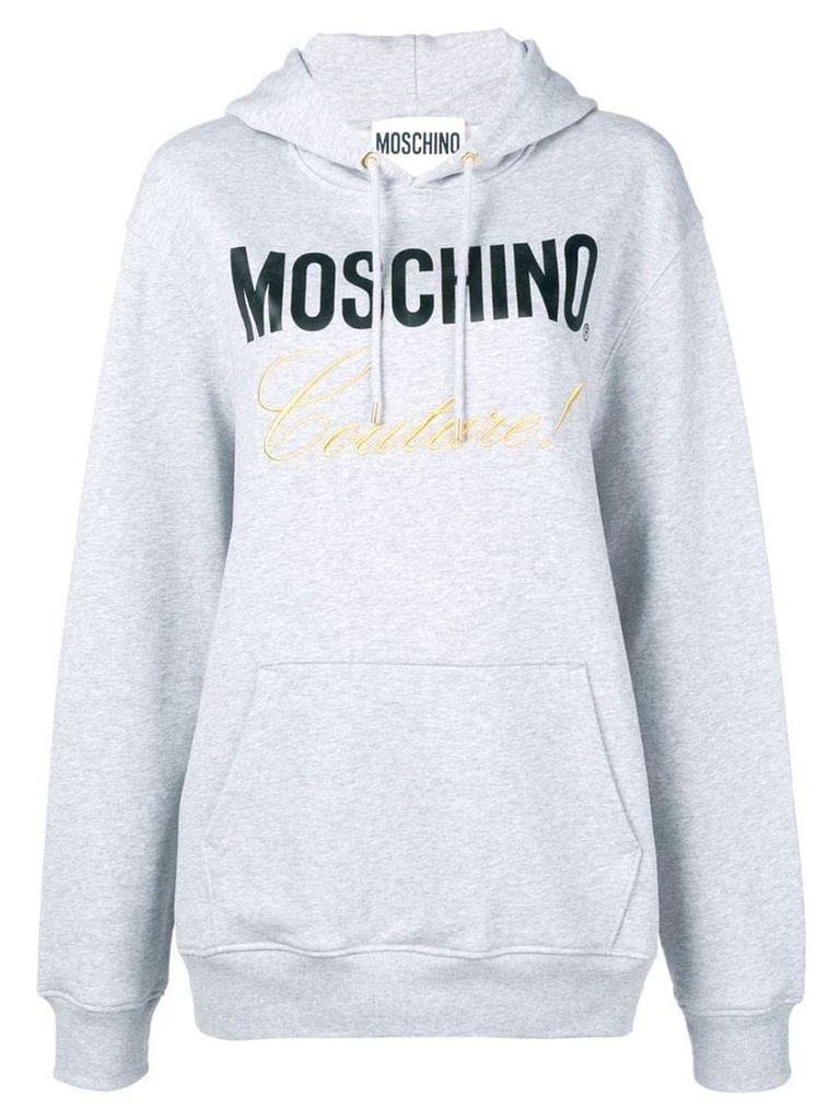 Moschino logo print hoodie - Grey