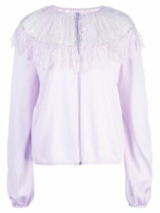Giambattista Valli floral lace detail knitted top - Purple