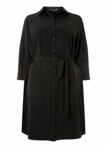 Womens **Dp Curve Black 3/4 Sleeve Shirt Dress- Black, Black