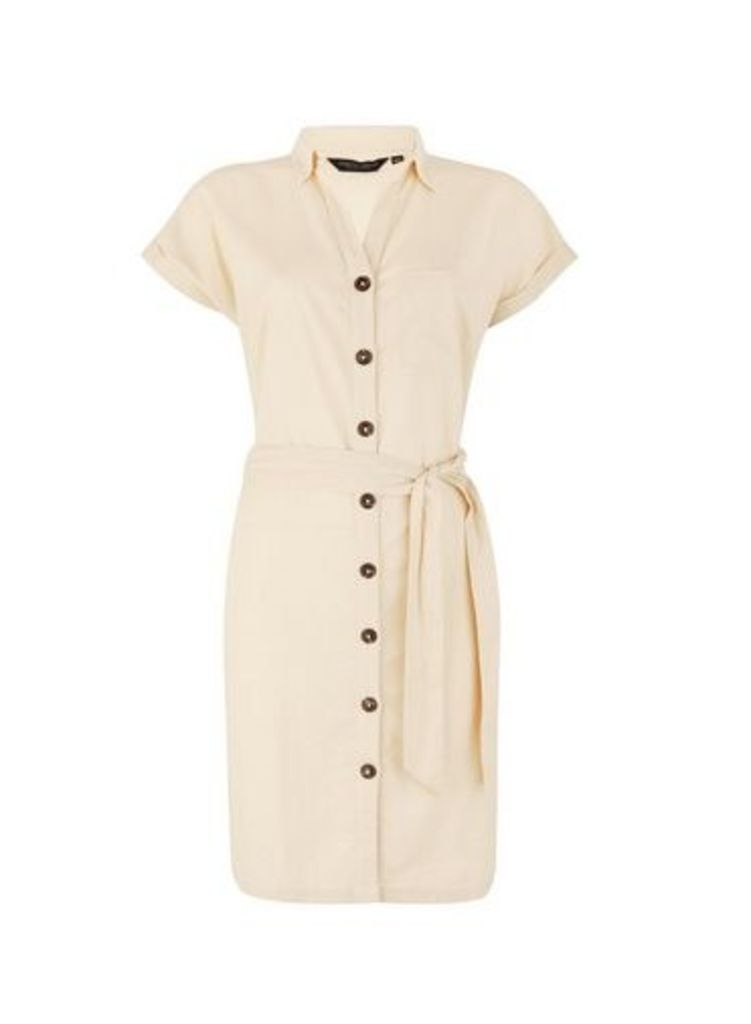 Womens Stone Shirt Dress With Linen- Stone, Stone