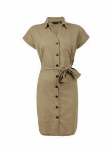 Womens Khaki Shirt Dress With Linen- Khaki, Khaki