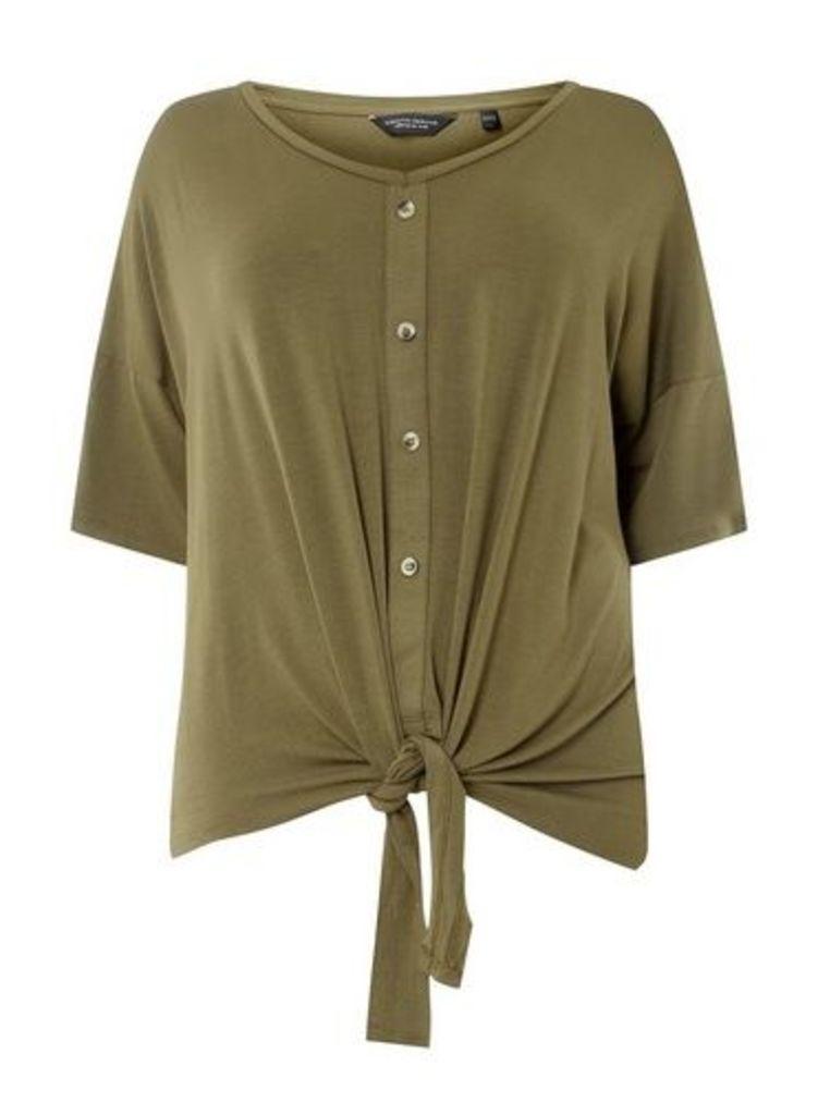 Womens **Dp Curve Khaki Button Down Knot Detail T-Shirt- Khaki, Khaki