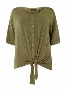 Womens **Dp Curve Khaki Button Down Knot Detail T-Shirt- Khaki, Khaki