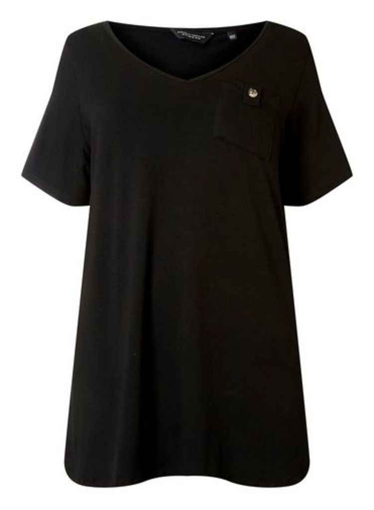 Womens **Dp Curve Black Pocket T-Shirt- Black, Black