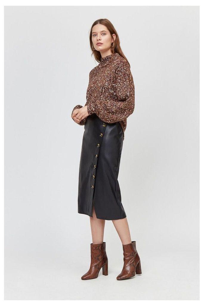 Womens Warehouse Black Faux Leather Pencil Skirt -  Black