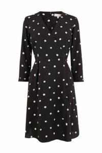 Womens Warehouse Black Spot Mini Wrap Dress -  Black