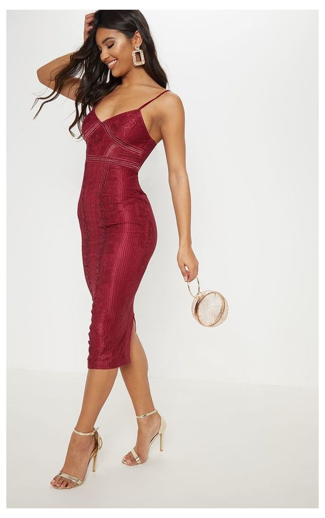 Burgundy Lace Mesh Stripe Insert Midi Dress, Red