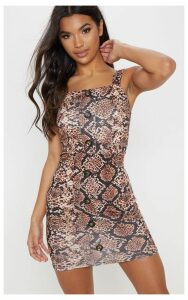 Brown Snake Tortoise Shell Button Front Bodycon Dress, Brown
