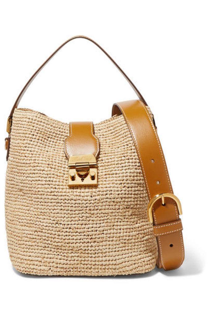 Mark Cross - Murphy Leather-trimmed Raffia Bucket Bag - Beige