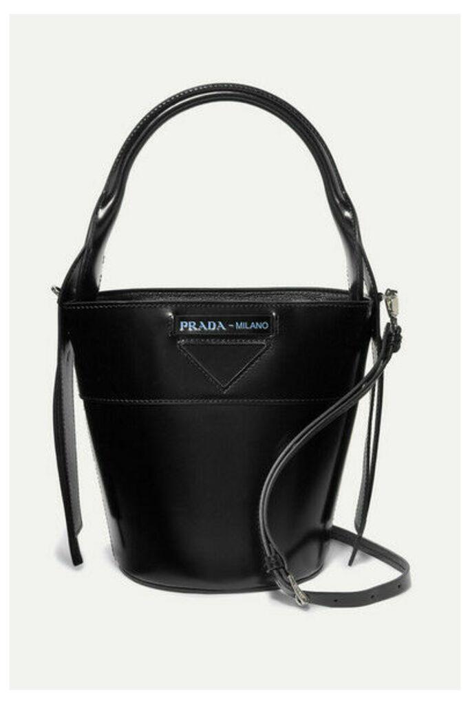 Prada - Overture Embossed Glossed-leather Bucket Bag - Black