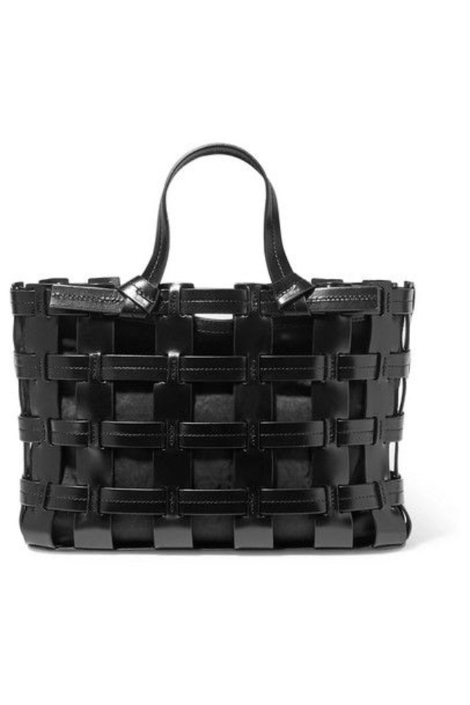 Trademark - Frances Caged Leather And Canvas Tote - Black