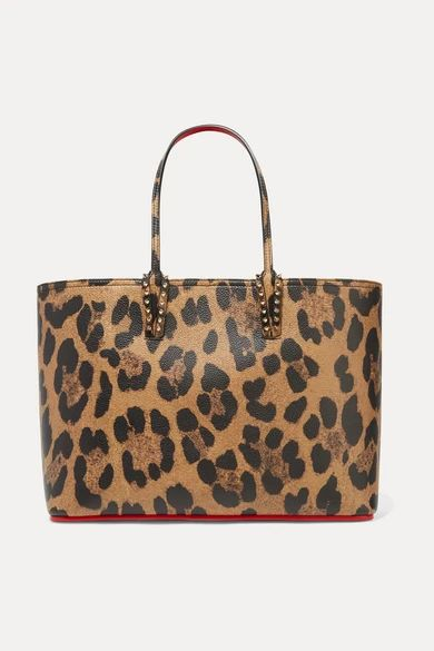 Christian Louboutin - Cabata Spiked Leopard-print Textured-leather Tote - Leopard print