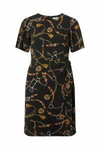Womens Dorothy Perkins Petite Belt Print Dress -  Black