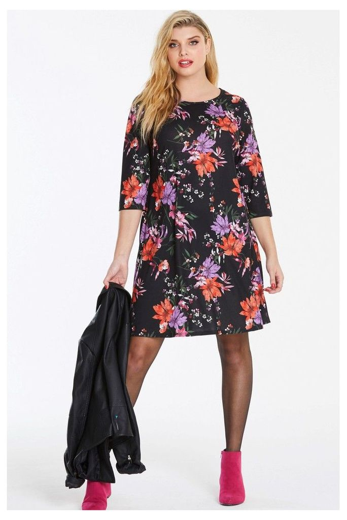 Womens Simply Be Floral Swing Dress -  Black