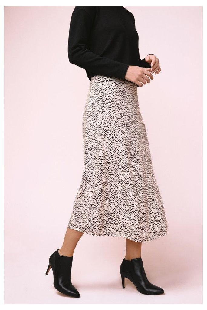 Womens Next White Spot Print Midi Skirt -  White