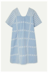 Pippa Holt - Embroidered Striped Cotton-voile Kaftan - Light blue