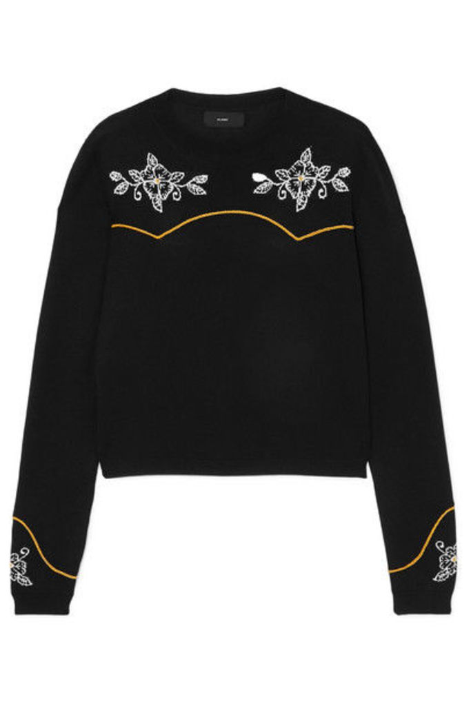Alanui - Western Flowers Embroidered Intarsia Cotton And Silk-blend Sweater - Black