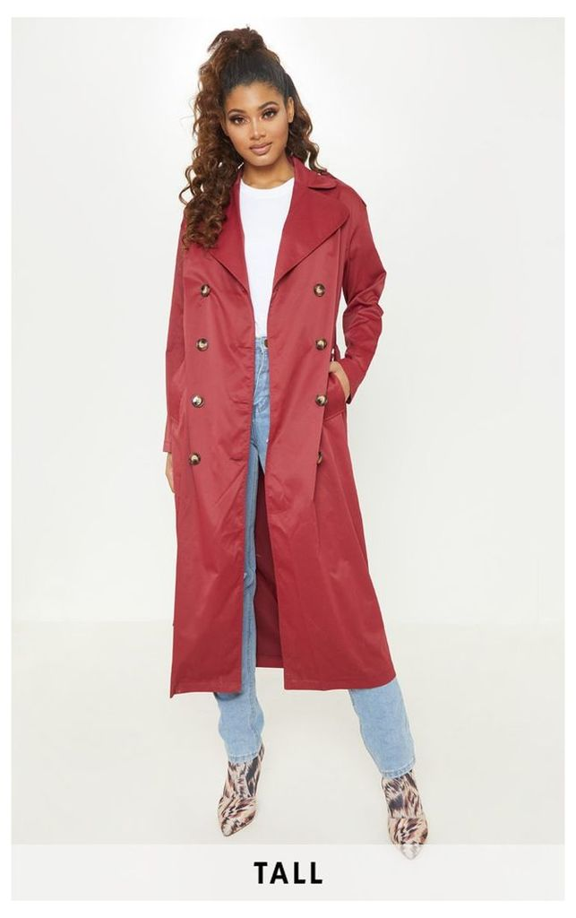 Tall  Burgundy Oversized Longline Trench Coat, Red