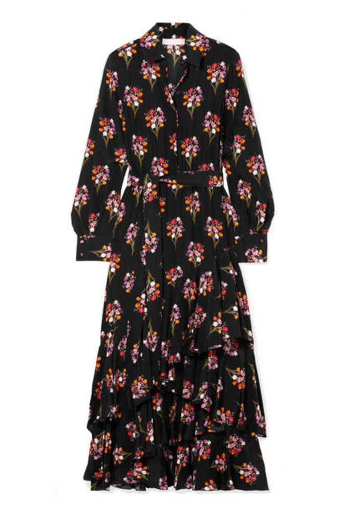 Borgo De Nor - Aurora Ruffled Silk Crepe De Chine Maxi Dress - Black
