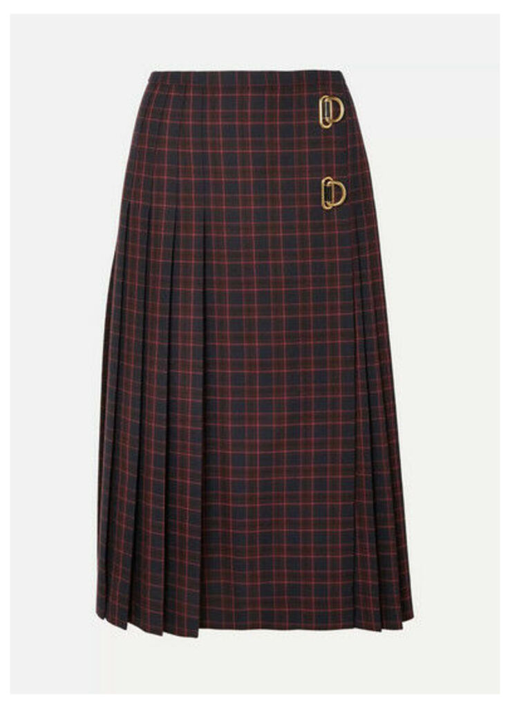 Burberry - Pleated Checked Wool Skirt - Navy
