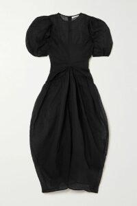 Markus Lupfer - Larissa Ruffle-trimmed Printed Silk Crepe De Chine Midi Dress - Black