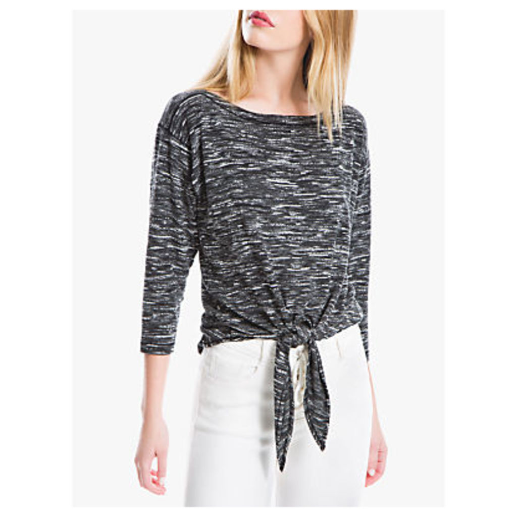Max Studio Tie Front Jersey Top, Black/Grey