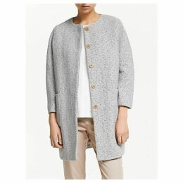 John Lewis & Partners Collarless Textured Cocoon Coat, Blue