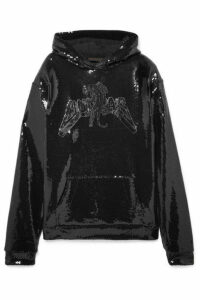 Dundas - Sequined Cotton-jersey Hoodie - Black