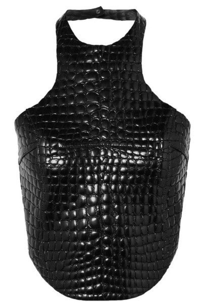 TOM FORD - Cropped Croc-effect Leather Halterneck Top - Black