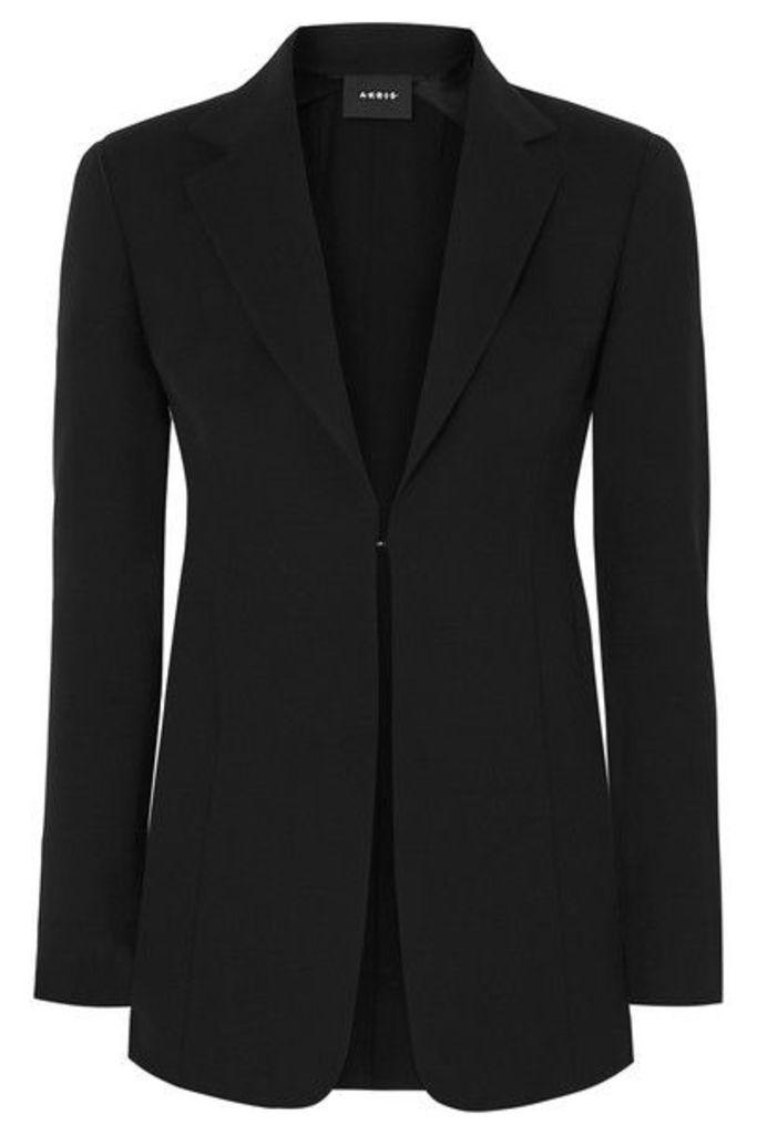 Akris - Odette Leather-trimmed Wool-blend Crepe Blazer - Black