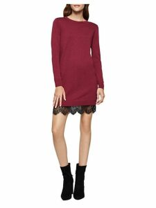 Lace-Trimmed Sweater Dress