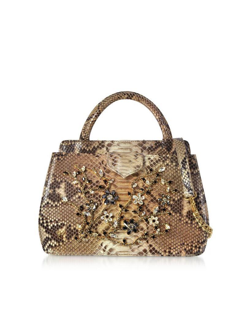 Ghibli Designer Handbags, Jeweled Python Leather Top Handle Satchel Bag