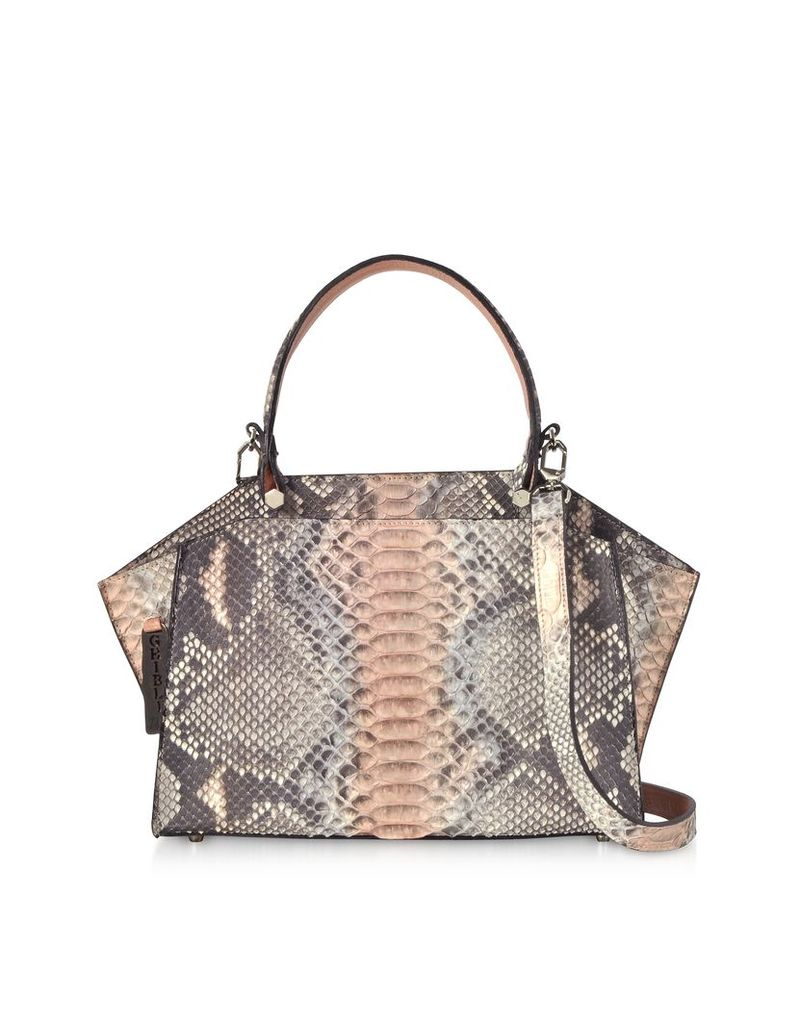 Ghibli Designer Handbags, Pearl Gray and Pale Pink Python Leather Top Handle Satchel Bag