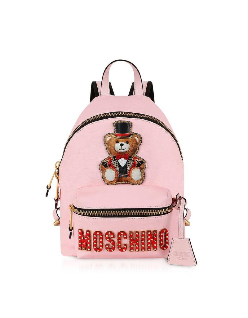 Moschino Designer Handbags, Teddy Bear Circus Patch Pink Backpack