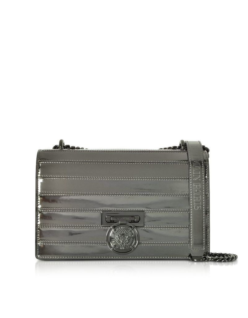 Balmain Designer Handbags, BBox 25 Mirror-effect Leather Bag