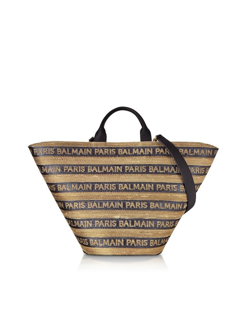 Balmain Designer Handbags, Beige/Noir Raffia Panier Plage Bag