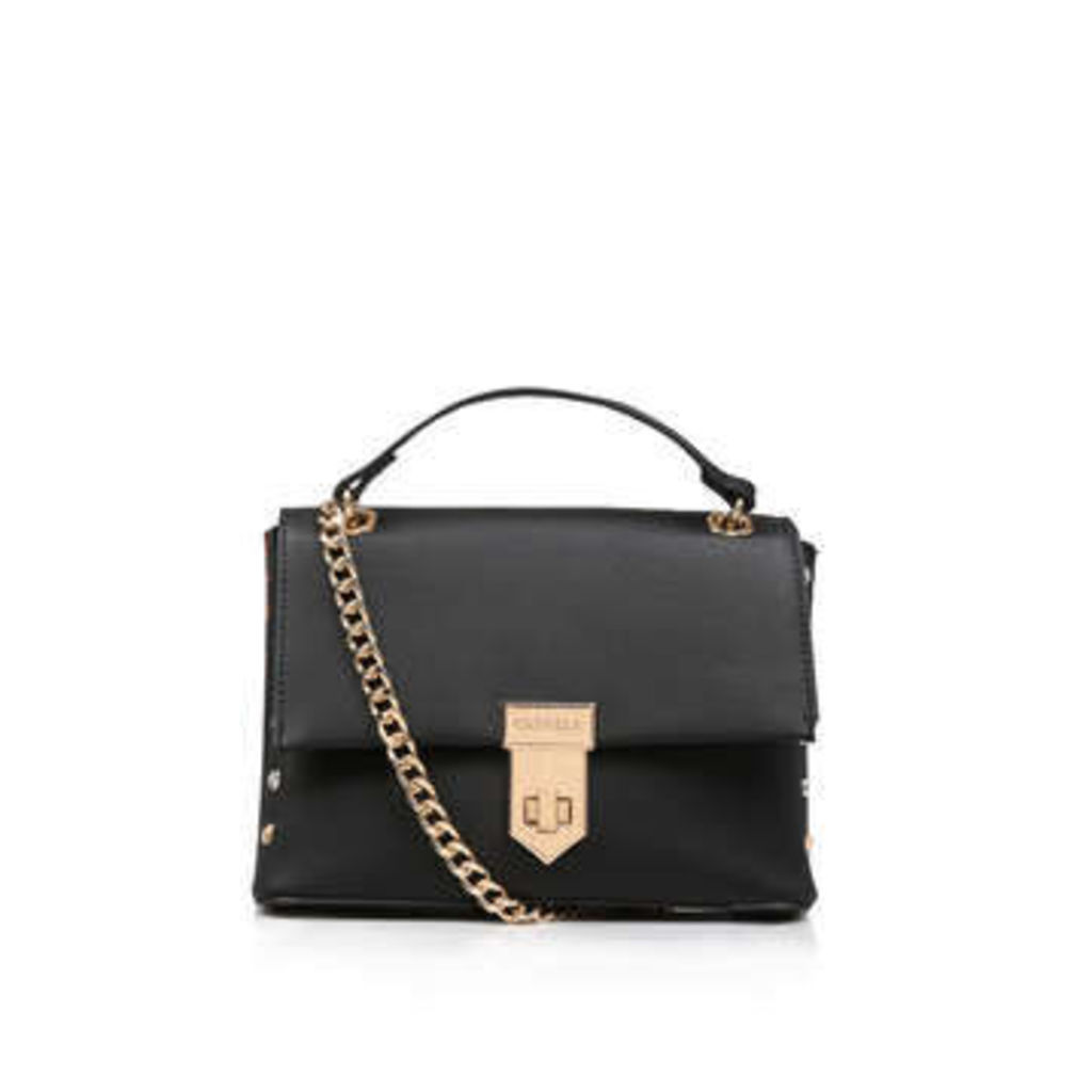 Carvela Cherry Stud Xbody - Black Shoulder Bag With Leopard Detail