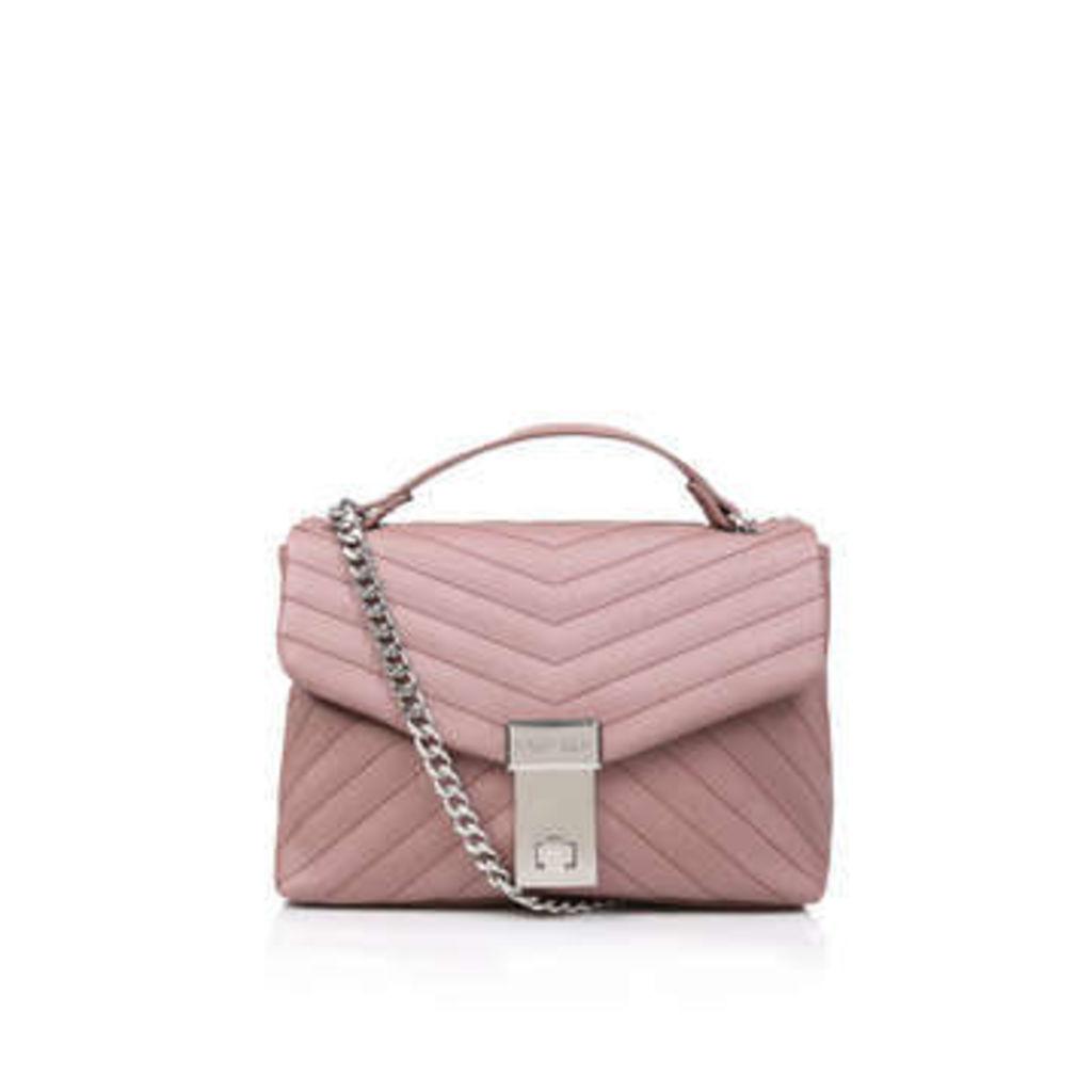 Carvela Celina V Quilt X Body Bag - Pale Pink Quilted Cross Body Bag